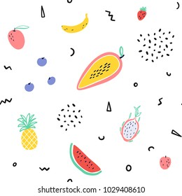 background, tropical, fruit, baby, print, food, summer, floral, seamless, pattern, memphis, pineapple, mango, watermelon, Pitaya, dessert, exotic fruit, banana, papaya with memphis style elements