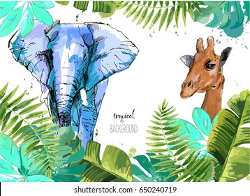 Background with Tropical Leaves, elephant and giraffe . Suitable for nature concept, safari, zoo and summer holiday. Vector Illustration.
