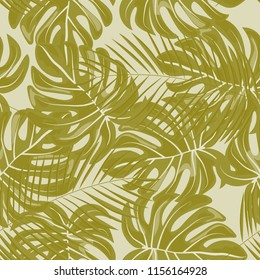 Background of tropical leaves. Tropical seamless pattern with leaves.