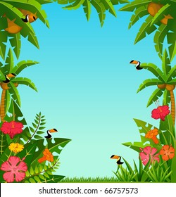 Background with tropical plants and parrots.
