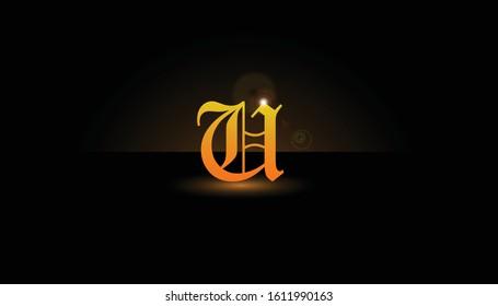 Background U Initial 3D.  The initials U vector.  Initials U for design logos