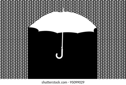 Background with umbrella in the heart rain, vector