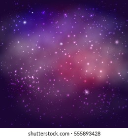Background Of The Universe. Star Cluster And Nebula - A Cloud In Space. Abstract astronomical galaxy illustration.