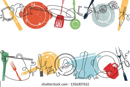 Background with Utensils and Food. Cooking Horizontal Pattern. Vector illustration.