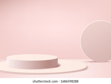 Background valentine 3d pink rendering with podium and minimal pink scene, minimal abstract background 3d render abstract shape pink love pastel color. Stage 3d render for product in podium background