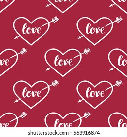 Background for Valentines day, wedding invitation. Seamless pattern  with hand drawn love lettering ,  heart. Design  for greeting card.