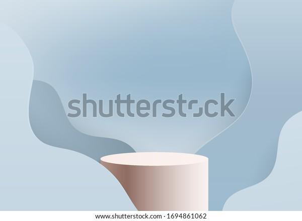 Background vector 3d blue rendered with marble podium and minimal blue cylinder scene, curve background 3d rendering podium platform shape blue pastel. 3D stage podium product on 3d background modern
