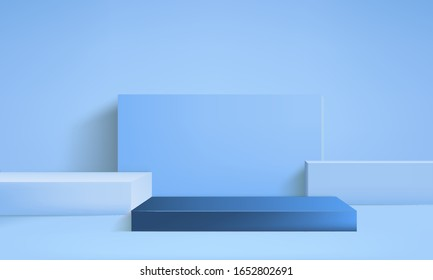 background vector 3d blue rendering with podium minimal blue pastel scene, minimal abstract background 3d rendering abstract geometric shape blue pastel, 3D stand pedestal background for show product