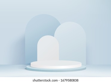 Background vector 3d blue rendering with podium and minimal blue pastel wall scene, product background 3d blue podium rendering abstract shape blue pastel. scene 3d background for product on glass