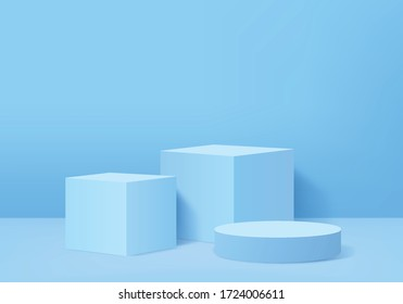 Background vector 3d blue rendering with podium and minimal blue wall scene, minimal podium background 3d rendering abstract shape stage blue pastel. Stage for product cube in podium platform