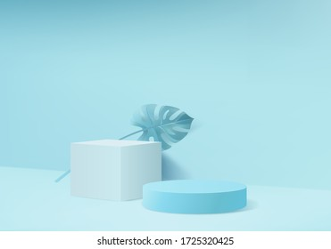 Background vector 3d blue rendering with podium and sloping floor wall scene, minimal abstract background 3d rendering abstract geometric shape blue pastel color. Stage for awards on website in modern
