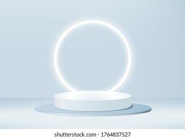Background vector 3d blue rendering with stage product and minimal blue wall scene, minimal product background 3d rendering abstract stage geometric shape blue pastel. Stage for product light platform - Shutterstock ID 1764837527