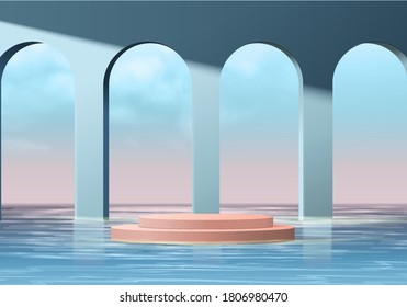 Background vector 3d blue rendering with pink podium and minimal summer scene with water sea, minimal abstract background 3d rendering geometric shape blue sky. Stage for show cosmetic on podium.