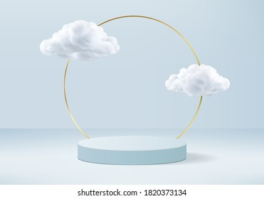 Background vector 3d blue rendering with podium and minimal cloud white scene, minimal abstract background 3d rendering geometric shape sky cloud blue pastel. Stage 3d rendering in cloud platform.
