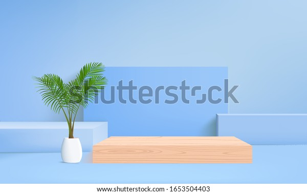 background vector 3d blue rendering with wood podium and monstera leaf, minimal abstract background 3d rendering abstract geometric shape blue pastel color and wood modern