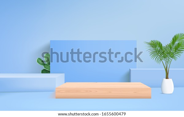 background vector 3d blue rendering with podium and minimal blue pastel wall scene, minimal wood podium blue, Podium  background 3d vector rendering scene blue pastel color and palm leaf on wood table