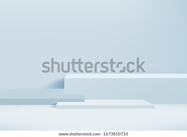 Background vector 3d blue rendering with podium and steps minimal blue wall scene, minimal podium background 3d rendering abstract platform shapes blue pastel. 3d stage background studio for product.