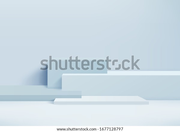 Background vector 3d blue rendering with podium and minimal blue wall scene, podium minimal abstract background 3d rendering abstract shape blue pastel. Stage 3d product on podium modern platform