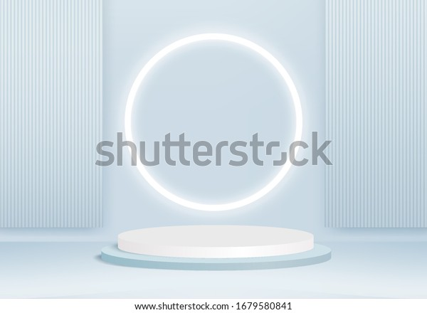 Background vector 3d blue rendering with podium and minimal blue stage scene, product abstract background 3d rendering abstract stage shape blue pastel podium. Stage 3d for product in podium scene