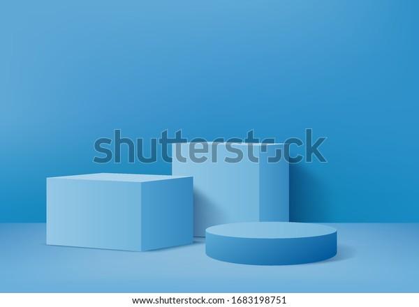 Background vector 3d blue rendering with podium and pedestal blue scene, minimal scene background 3d rendering geometric pedestal blue pastel color. Stage for awards on pedestal in blue platform