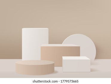 Background vector 3d brown rendering with podium and minimal cream studio scene, background 3d rendering geometric shape brown pastel. Stage for product display in cream brown studio background