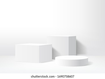 Background vector 3d gray render with podium white 3d and minimal white wall scene, minimal podium white background 3d rendering abstract stage gray. Stage render for product on white podium studio