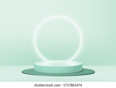 Background vector 3d green pastel rendering with podium and minimal green products scene, product minimal podium  background 3d rendering shape green pastel. Stage for awards on product in green stand