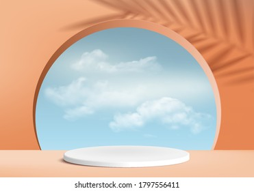 Background vector 3d orange color cylinder summer podium and minimal scene with leaves, abstract background 3d rendering abstract geometric pink pastel color. Stage show product cosmetic on 3d display