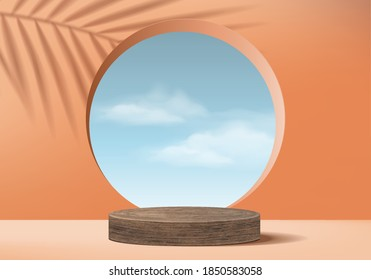 Background vector 3d orange coral cylinder wood podium and minimal cloud scene with leave, wood podium 3d rendering, wood podium pink pastel. Stage products halloween podium platform 3d sky display