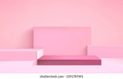 background vector 3d pink rendering with podium and minimal pink wall scene, minimal abstract background 3d rendering abstract geometric shape pink pastel color. Stage for pink product in light studio