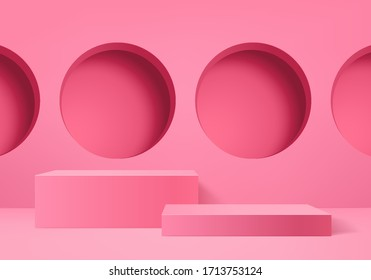 Background vector 3d pink rendering with podium and minimal pink wall scene, minimal abstract background 3d rendering abstract geometric shape pink pastel color. Stage for awards on website in modern.