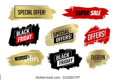 Background vector brush strokes for black Friday designs, offers, sales, discounts. For promotion in advertisements, banners, brochures, posters, coupons. Golden, black, red and white colors. Vector