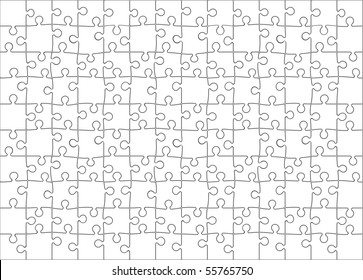 Background Vector Illustration of Blank Jigsaw Puzzle (each piece is an editable blend)