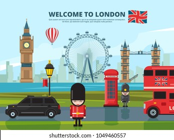 Background vector illustration with london urban landscape. England and uk landmarks. Urban london tower, landmark england architecture