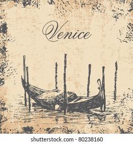 background with venetian gondola. retro style. vector illustration.