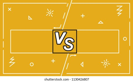 Background Versus Screen battle, Vector Illustration.Business confrontation screen with frames and vs logo illustration. Battle banner match, vs letters competition confrontation.headline template