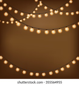 Background with vintage garlands, Vector EPS10, Christmas lights