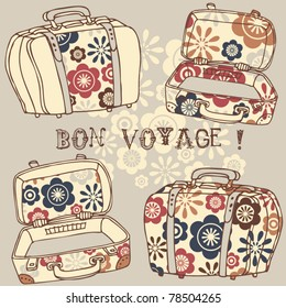 background with vintage suitcases