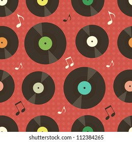 background with vinyl records and music notes