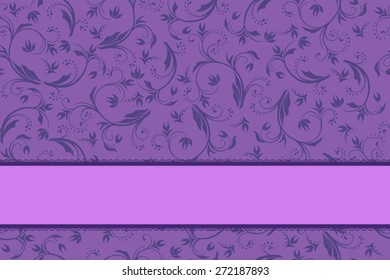 Background violet and purple floral with bow pattern seamless vector