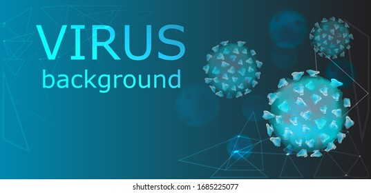 Background with viruses. Coronavirus pandemic illustration. Medical healthcare virus, and allergy microbiology concept. Microbial pathogen disease microorganisms.