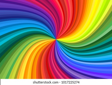Background of vivid rainbow colored swirl twisting towards center. Paper A4 size Vector illustration