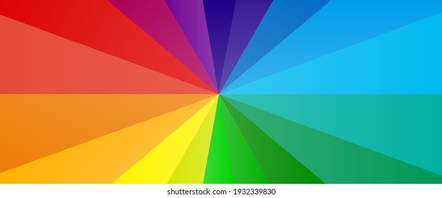 Background of vivid rainbow coloured swirl twisting towards center. Vector illustration