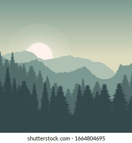 background wallpapers of black green mountain and black green forest with white moon