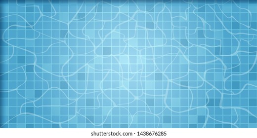 Background with water surface in pool. Texture of water surfac. Overhead view. Vector illustration.