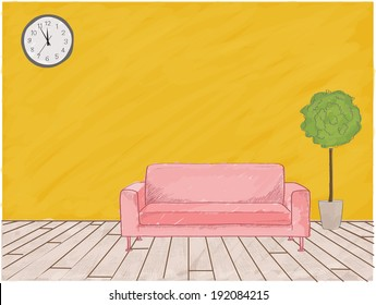 Background watercolor sketch of furniture