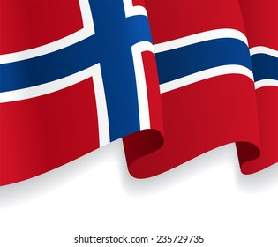 Background with waving Norwegian Flag. Vector illustration