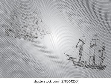 Background with wavy stripes and floating them on the ships sail.