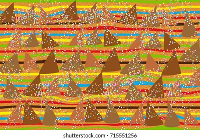 Background with wavy stripes and triangles. Abstract background in style of Gustav Klimt painting.