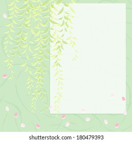 Background of weeping willow and cherry petals